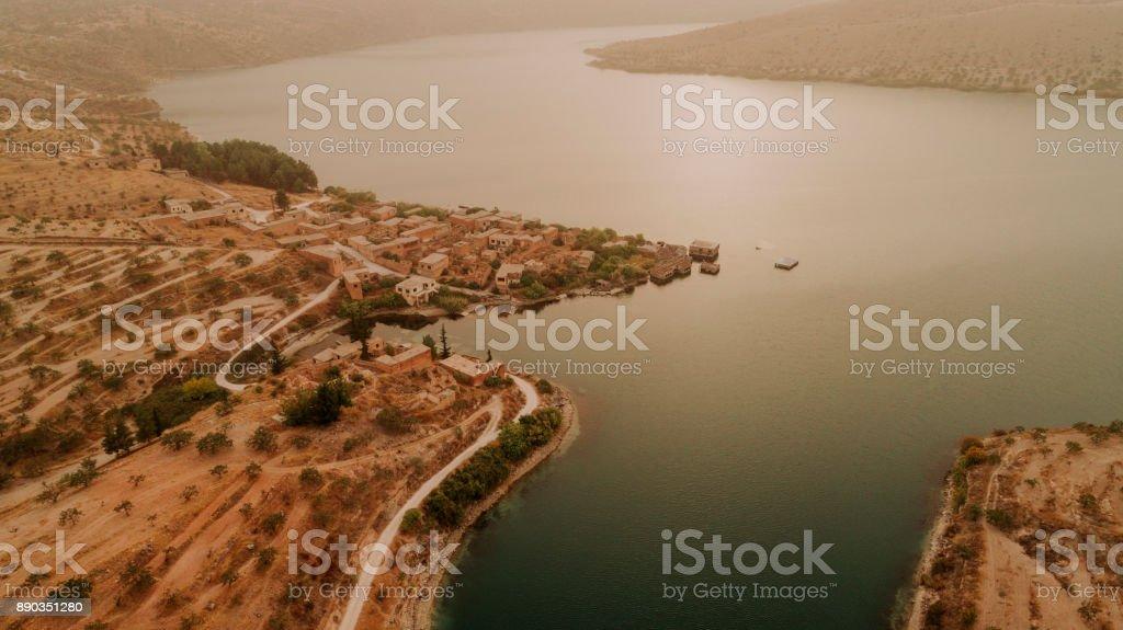 Luftbild von Rumkale und Fırat River – Foto