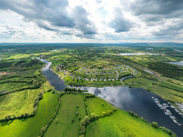 Aerial view of rural Ireland with a housing estate stock photo