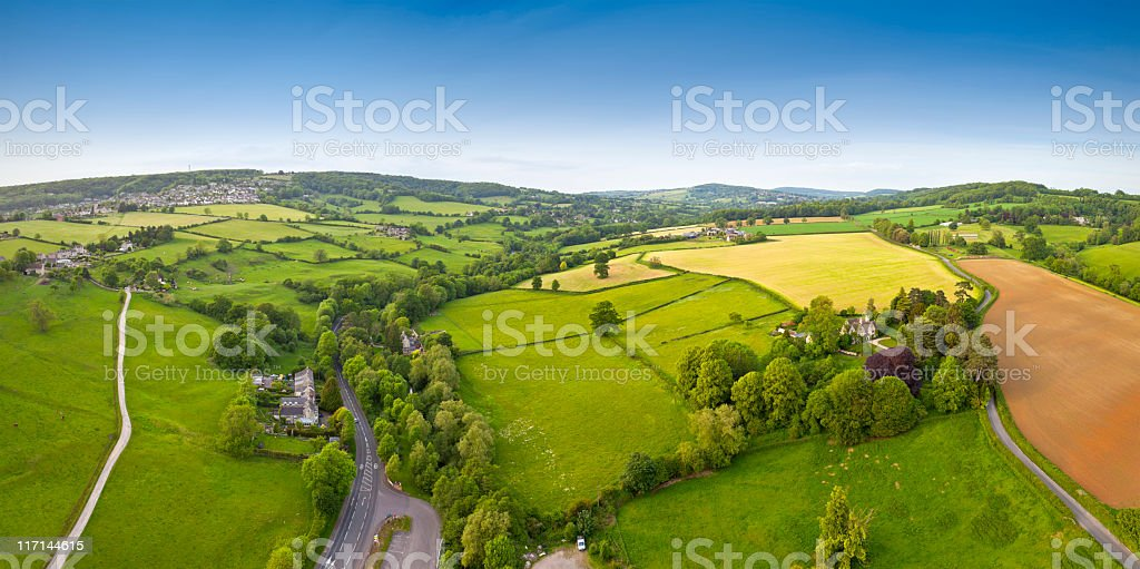 Aerial view of rural land in Cotswold's, UK stock photo