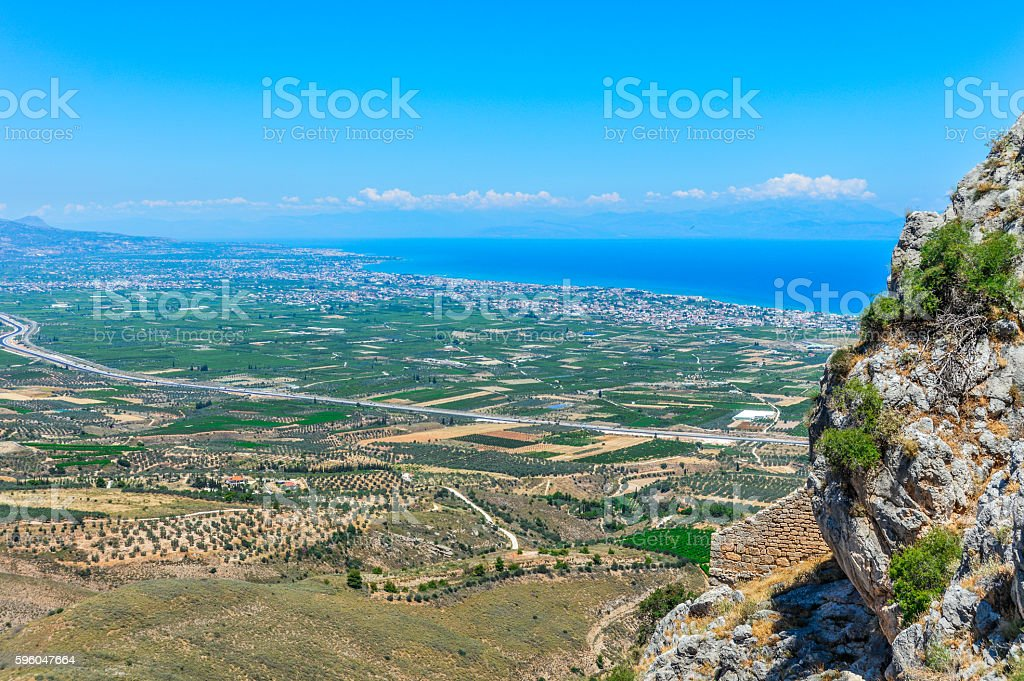 Aerial view of rural landscape in Greece royalty-free stock photo