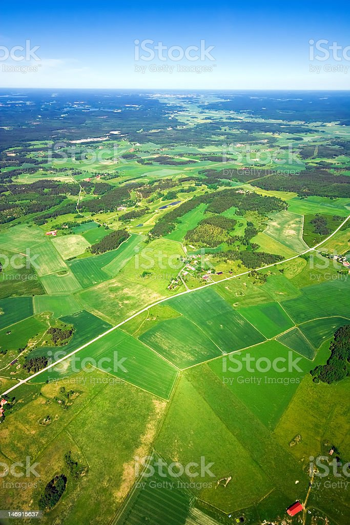 Aerial view of rural landscape royalty-free stock photo