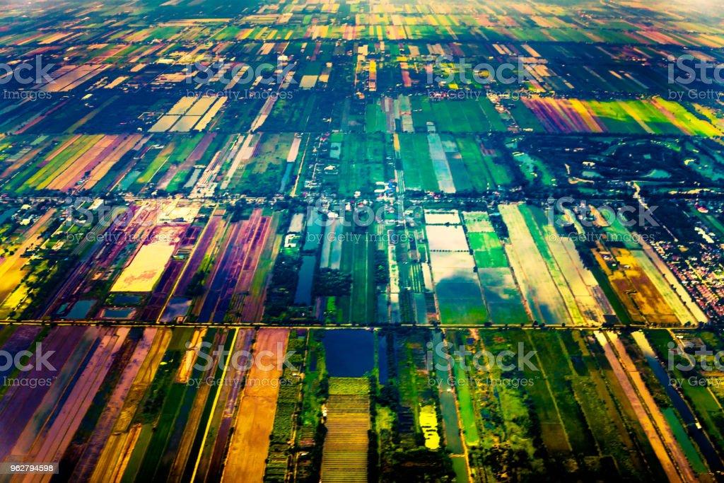 Aerial view of rural outskirts of Bangkok - Foto stock royalty-free di Agricoltura