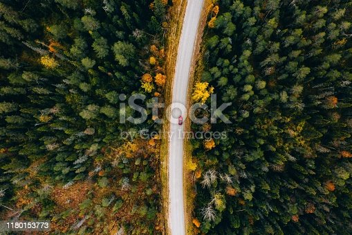 Aerial view of rural road with red car in yellow and orange autumn forest in rural Finland.