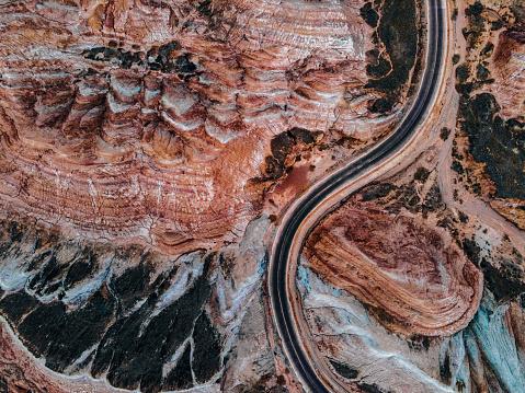 Aerial View of Rural Road through Danxia Landform