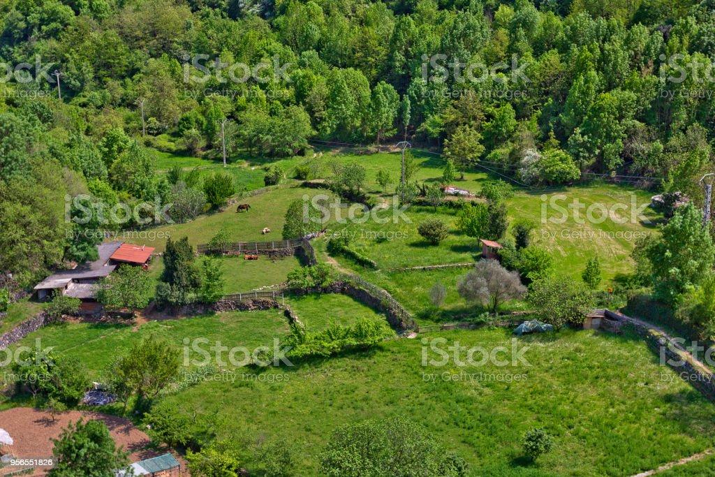 Luftaufnahme des ländlichen Szene im Dorf Castellfollit De La Roca, Spanien - Lizenzfrei Alt Stock-Foto