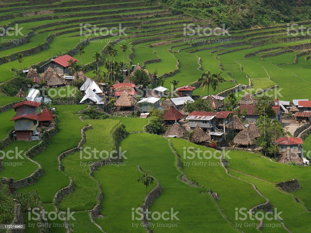 Aerial view of rural town with rice terraces royalty-free stock photo