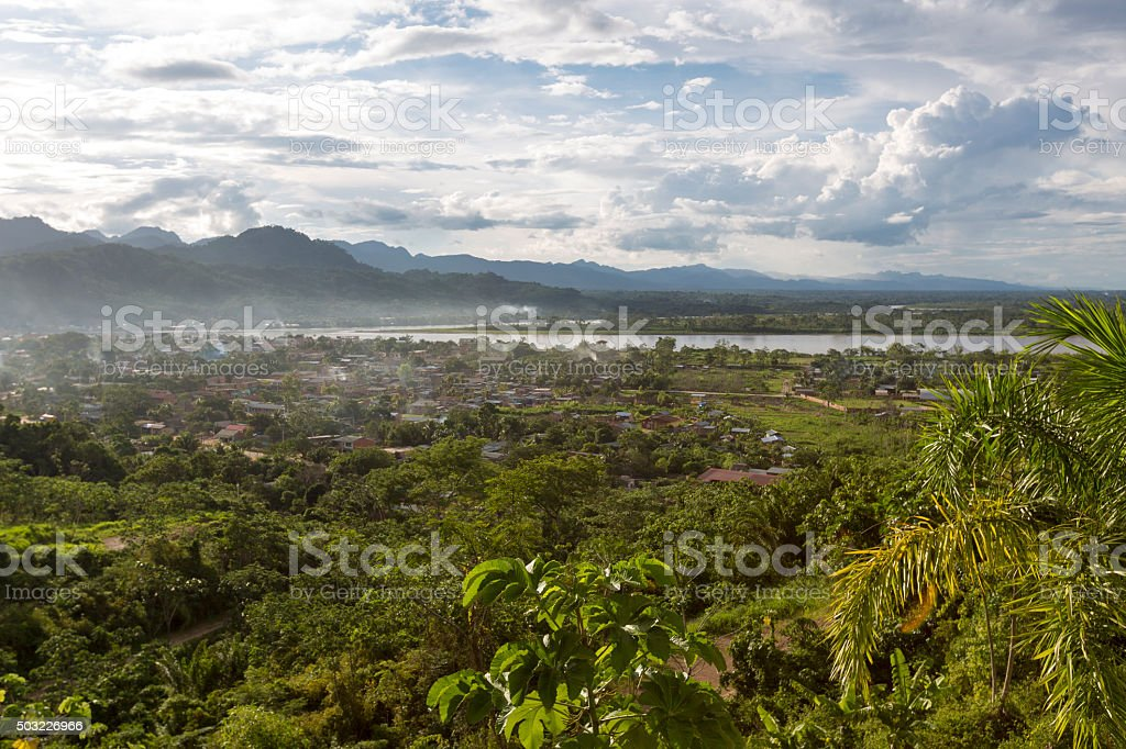 Aerial view of Rurrenabaque, Bolivia stock photo