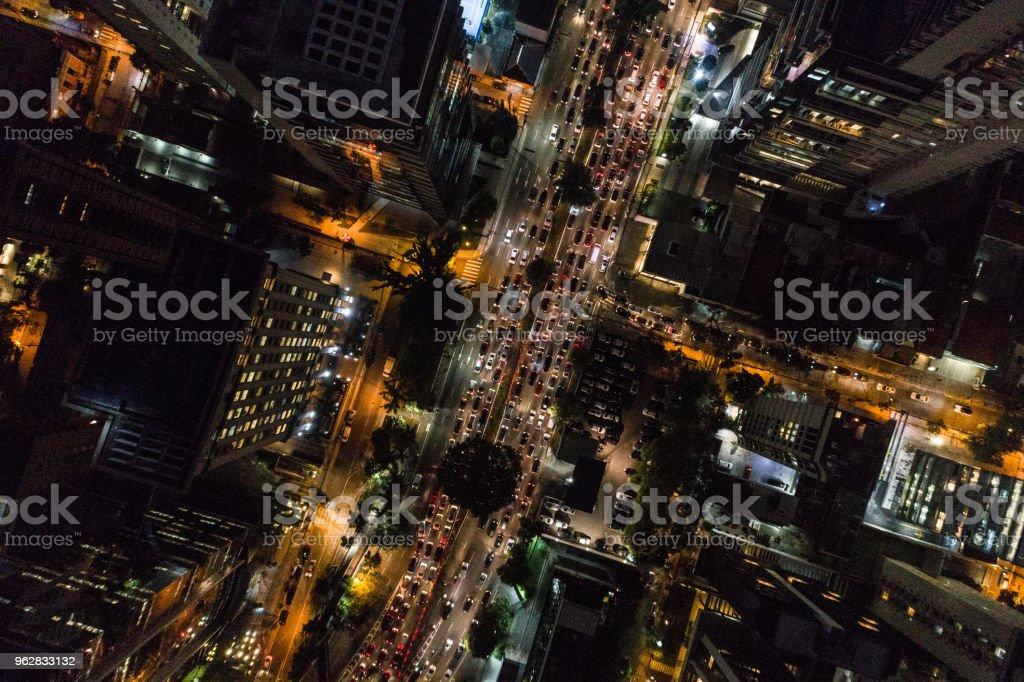 Aerial view of Rush Hour in Sao Paulo city, Brazil at night stock photo