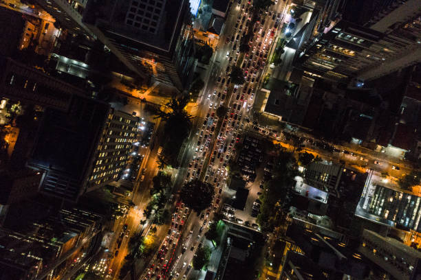 Aerial view of Rush Hour in Sao Paulo city, Brazil at night stock photo