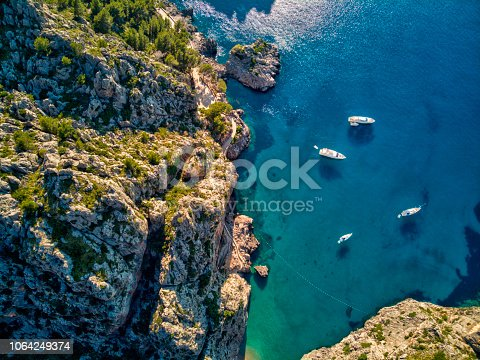 Aerial view of Sa Calobra beach in Mallorca - Spain
