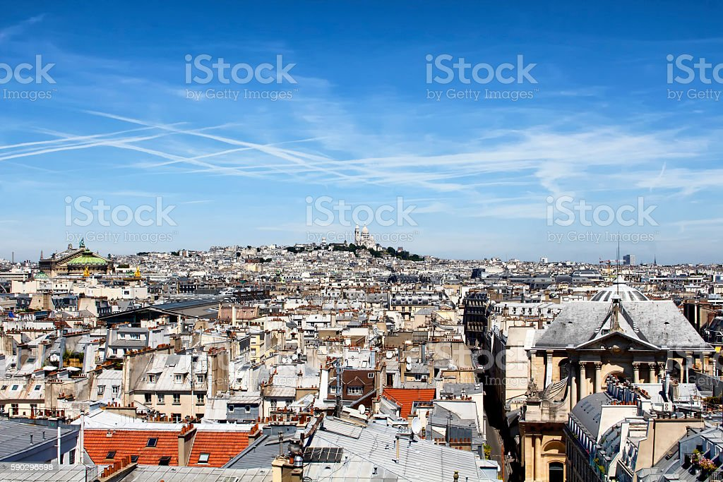 Aerial view of Sacre Coeur and cityscape of Paris royaltyfri bildbanksbilder