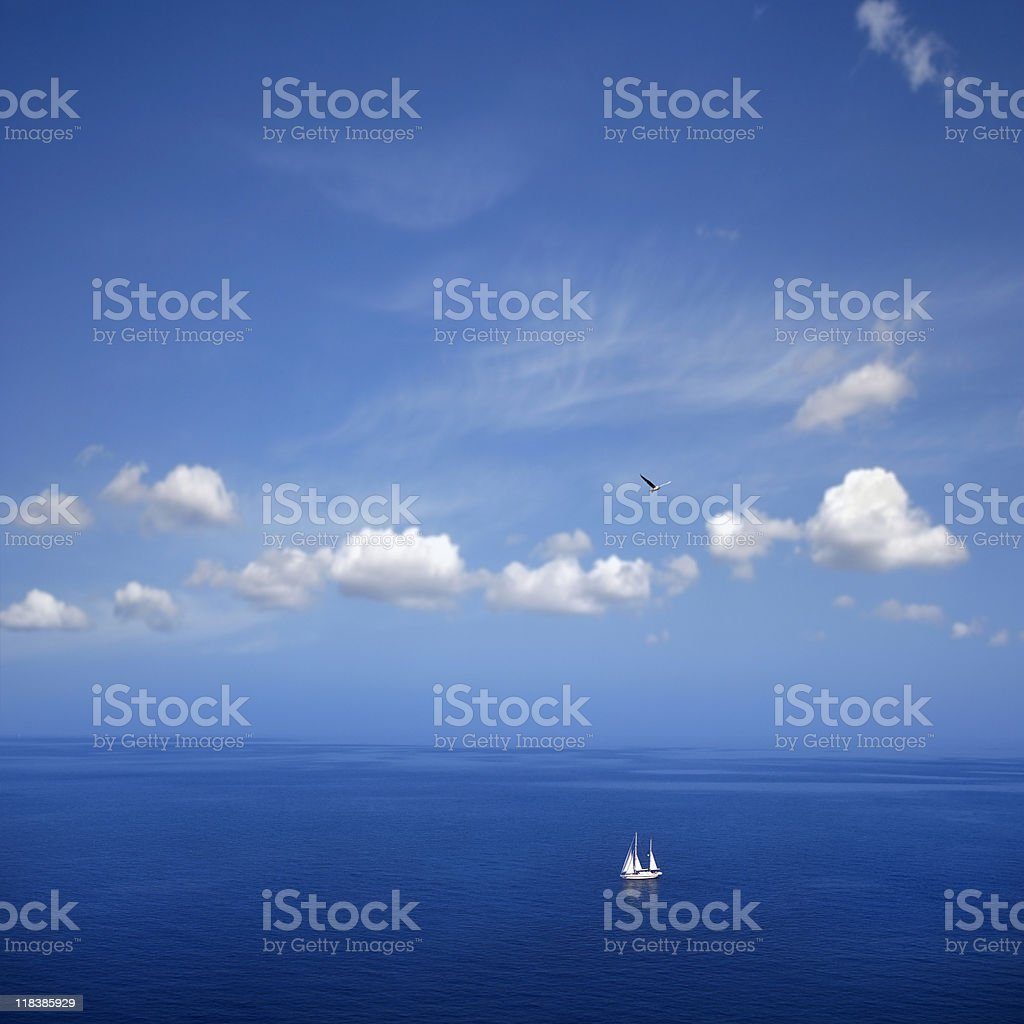 aerial view of sailing boat on sea royalty-free stock photo