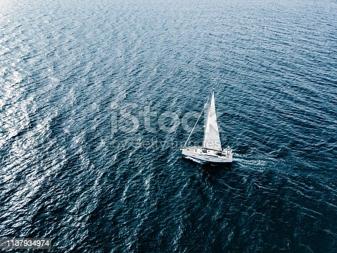 1066331604 istock photo Aerial view of Sailing ship yachts with white sails  in deep blue sea 1137934974