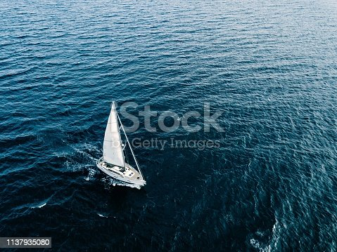 1066331604 istock photo Aerial view of Sailing ship yachts with white sails  in deep blue sea 1137935080
