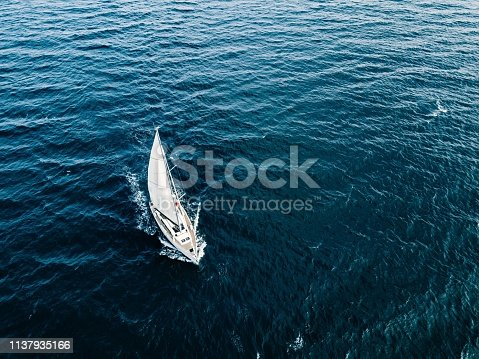 1066331604 istock photo Aerial view of Sailing ship yachts with white sails  in deep blue sea 1137935166