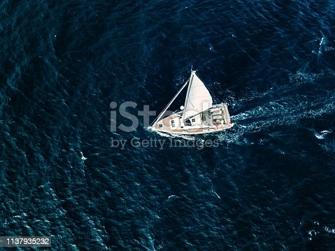 1066331604 istock photo Aerial view of Sailing ship yachts with white sails  in deep blue sea 1137935232
