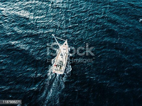 1066331604 istock photo Aerial view of Sailing ship yachts with white sails  in deep blue sea 1137935271