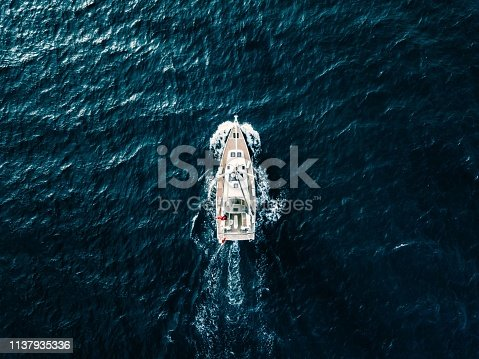1066331604 istock photo Aerial view of Sailing ship yachts with white sails  in deep blue sea 1137935336