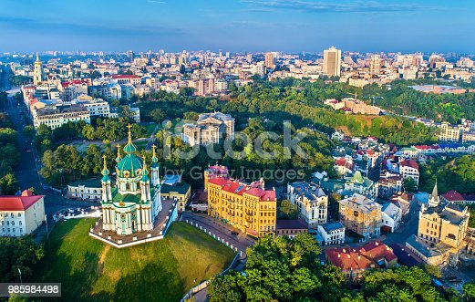 istock Aerial view of Saint Andrew church and Andriyivskyy Descent, cityscape of Podil. Kiev, Ukraine 985984498