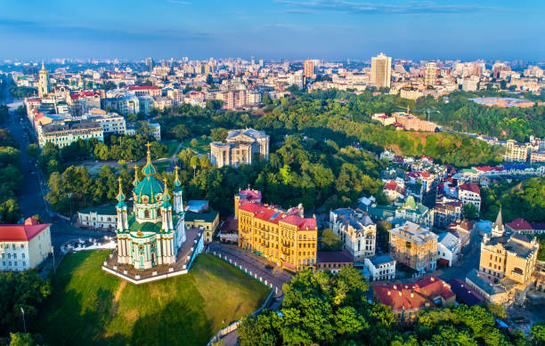 aerial view of saint andrew church and andriyivskyy descent, cityscape of podil. kiev, ukraine - ukraine stock pictures, royalty-free photos & images