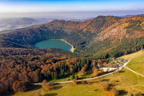 Aerial view of Saint Anna Lake in Tusnad  Romania stock photo