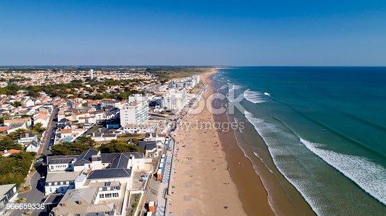 istock Aerial view of Saint Gilles Croix de Vie beach 966659336
