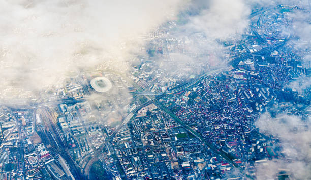Aerial view of Saint-Denis with the Stade de France. Nothern suburb of Paris Aerial view of Saint-Denis, a nothern suburb of Paris, with the Stade de France ile de france stock pictures, royalty-free photos & images