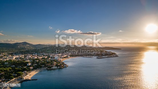 Aerial view of Sainte-Maxime seafront in French Riviera (South of France)
