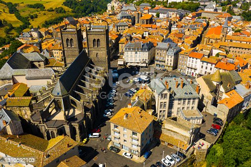 istock Aerial view of Saint-Flour upper town with Cathedral, France 1310592103