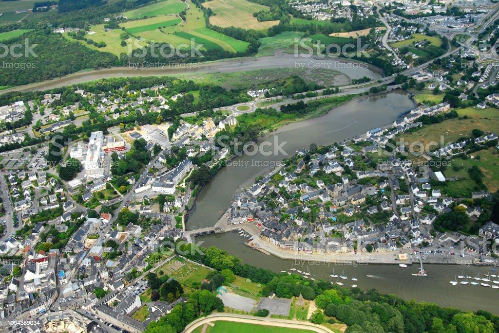 Aérienne Vue le dans de Saint-Goustan Morbihan - foto de stock