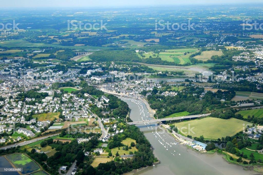 Vue aérienne de Saint-Goustan - foto de stock