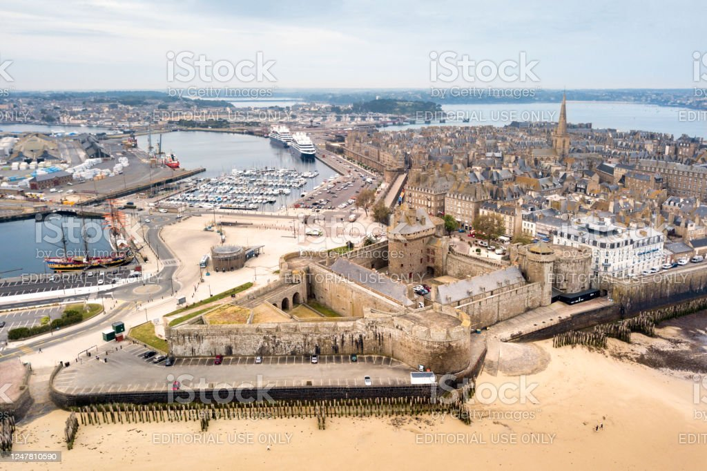 Aerial view of  Saint-Malo in Brittany - Royalty-free Aerial View Stock Photo