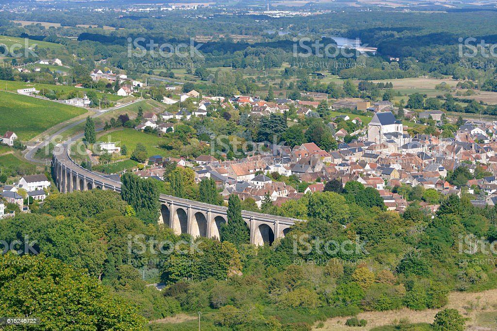 Aerial view of Saint-Satur stock photo