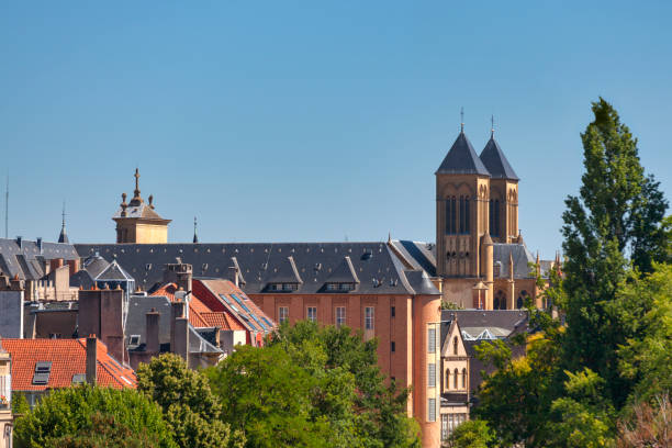 Aerial view of Saint-Vincent basilica in Metz stock photo