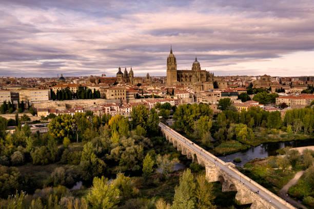 Aerial view of Salamanca in Spain at sunset stock photo