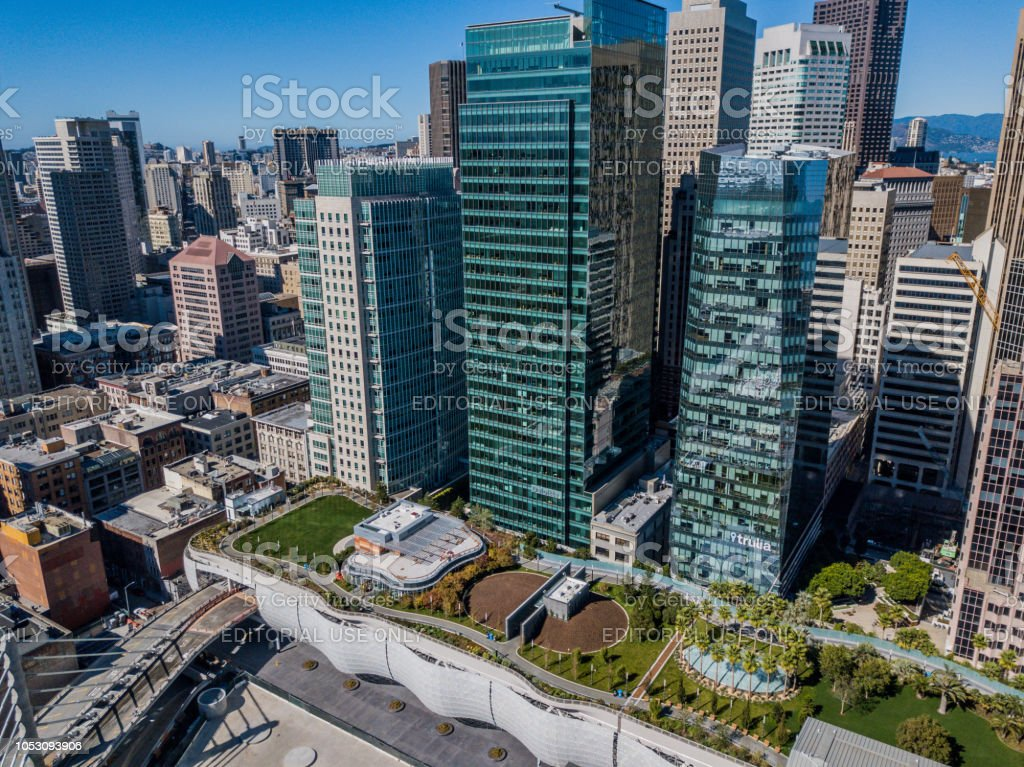 Aerial View of Salesforce Park in San Francisco stock photo