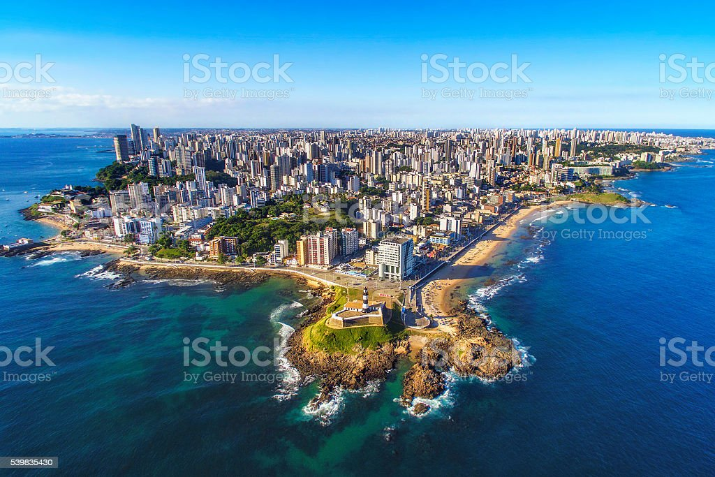 Aerial View of Salvador da Bahia Cityscape, Bahia, Brazil stock photo