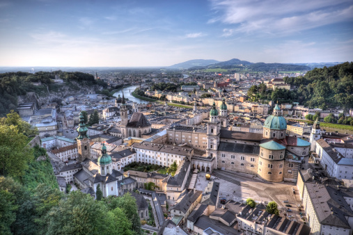 Salzburg's famous old town, one of Europe's most well-recognized UNESCO world heritage sites. High dynamic range photo.