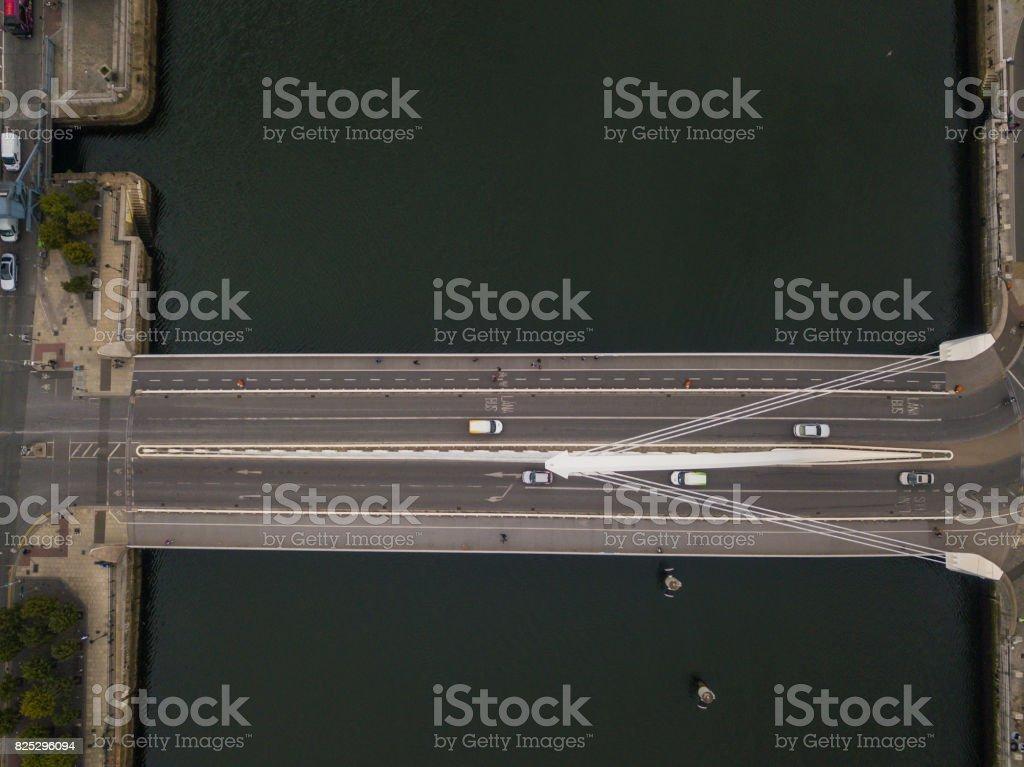 Aerial view of Samuel Beckett Bridge, Dublin, Ireland. stock photo