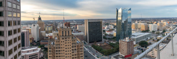 Aerial View of San Antonio Skyline During the Early Morning Aerial View of San Antonio Skyline During the Early Morning san antonio texas stock pictures, royalty-free photos & images