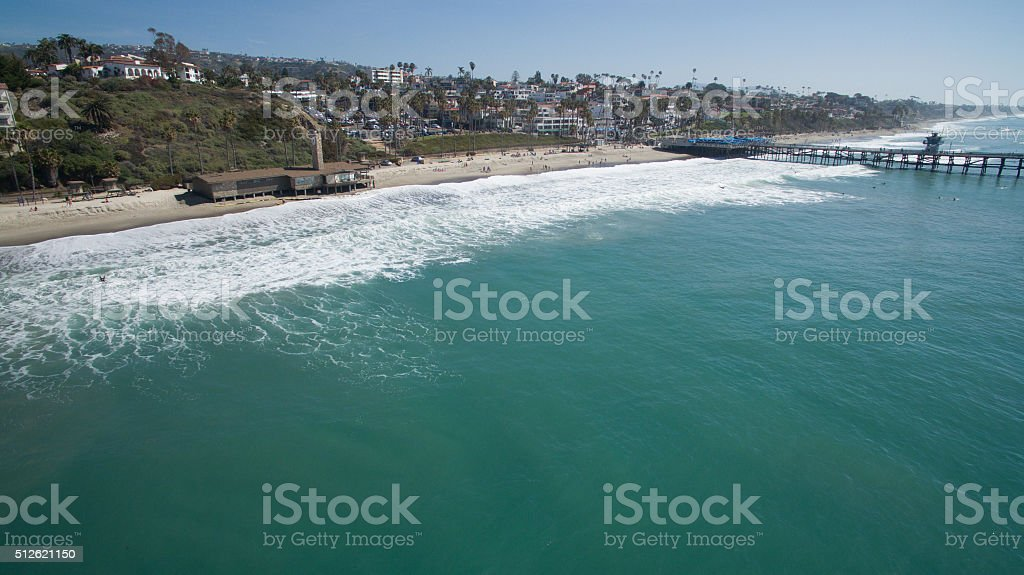 Aerial View of San Clemente Coast and Pier stock photo