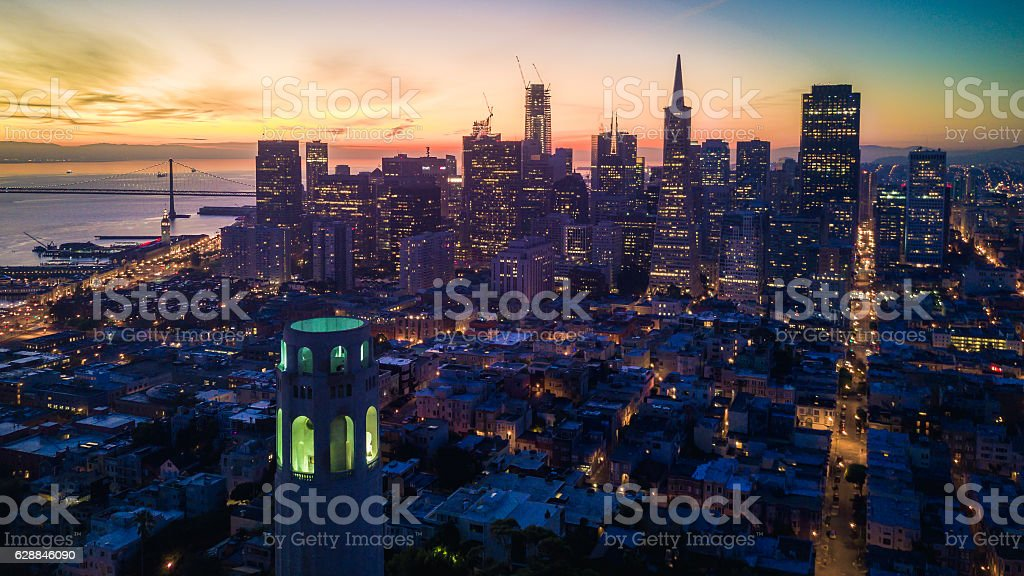 Aerial view of San Francisco at Dawn stock photo