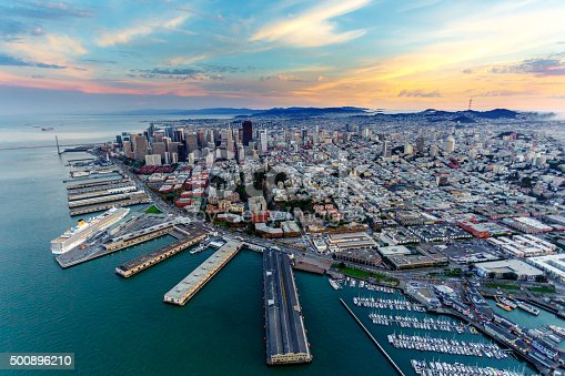 istock Aerial view of San Francisco at sunset 500896210