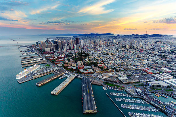 Aerial view of San Francisco at sunset stock photo