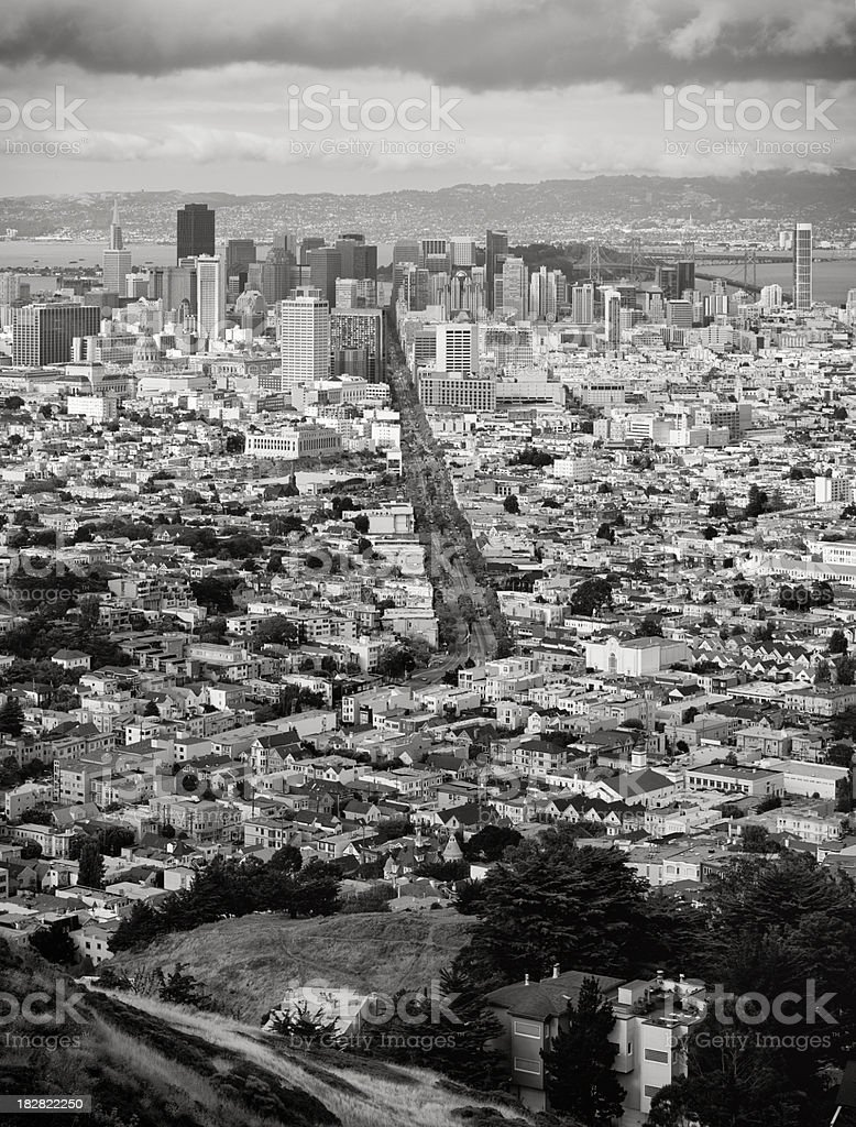 Aerial View of San Francisco Before A Storm (XXXL) stock photo