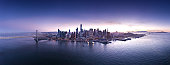 Aerial panorama of San Francisco ,City by the Bay, with sunset background. California, USA