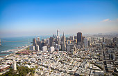 Aerial view of San Francisco from helicopter on a beautiful summer day.