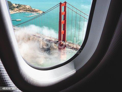 istock Aerial view of San Francisco Golden Gate Bridge 483097952