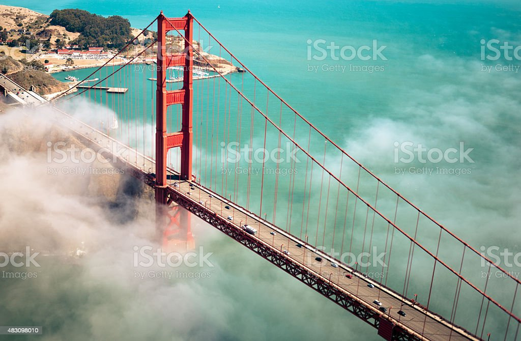 Aerial view of San Francisco Golden Gate Bridge stock photo