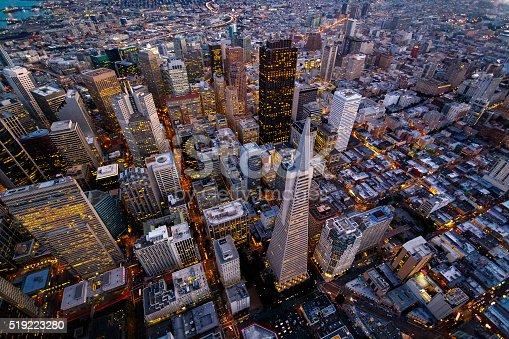 Aerial cityscape view of San Francisco, California, USA